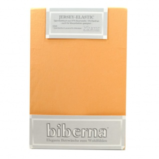 Biberna 77866-534 Jersey Elastic Spannbetttuch Pfirsich 90x190 100x220