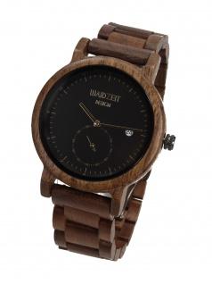 Waidzeit XS01 Maximilian schwarz Uhr Herrenuhr Holz Datum Braun