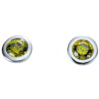 Basic Silber 01.1097G Damen Ohrstecker Silber Zirkonia grün