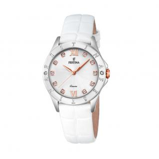 FESTINA F16929/A Uhr Damenuhr Lederarmband Weiß