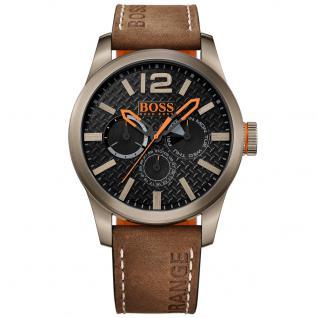 Boss Orange Paris Uhr Herrenuhr Lederarmband Datum braun
