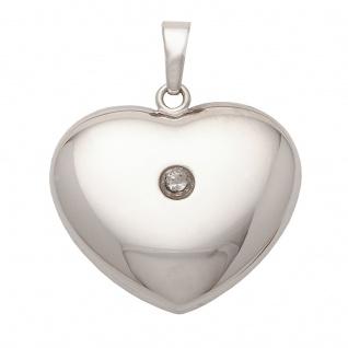 Basic Silber SH01 Damen Anhänger Herz Silber weiß