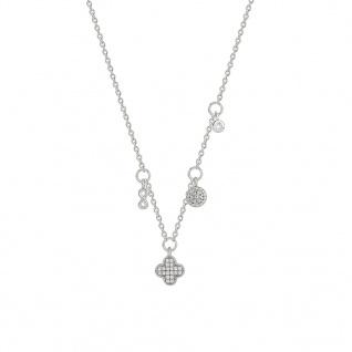 XENOX XS1606 Damen Collier Glamour Girl Silber Weiß 45 cm