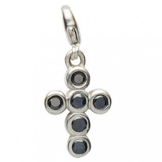 Basic Silber 22.VX099.S Damen Charms Kreuz Silber Zirkonia schwarz
