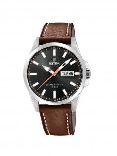 FESTINA F20358/2 Uhr Herrenuhr Lederarmband Datum Braun