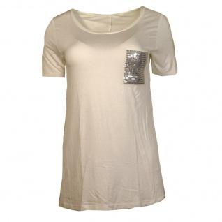 Only Damen T-Shirt Kurzarm NOVA Sequins Party Pocket Top Weiß Gr. XL
