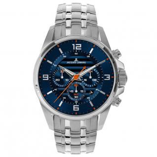Jacques Lemans LIVERPOOL Chronograph Uhr Herrenuhr Edelstahl blau