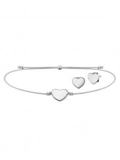 Julie Julsen JJSET4 Damen Armband Herz Silber Grau 25 cm