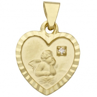 Basic Gold EN22 Kinder Anhänger Herz Schutzengel 14 Karat Gold