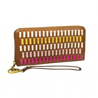 Fossil Geldbörse Emma RFID Large Zip Pink Braun Multi Damen Börse - Vorschau 1