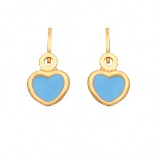 Basic Gold KI75 Mädchen Ohrringe Herz 14 Karat (585) Gelbgold blau