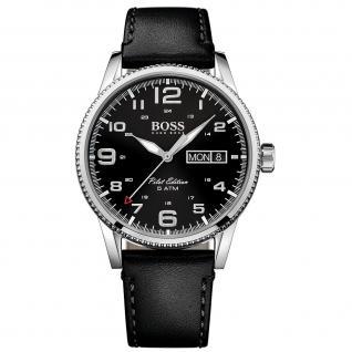 Hugo Boss Pilot Uhr Herrenuhr Lederarmband Datum schwarz