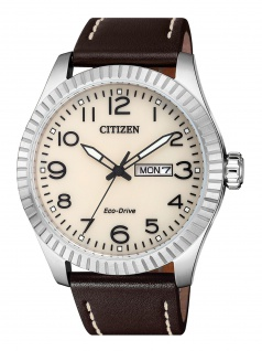 Citizen BM8530-11X Uhr Herrenuhr Lederarmband Datum Braun