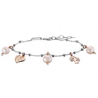 Julie Julsen® JJBR9850.4 Damen Armband Blätter Bicolor Rose Weiß 18 cm