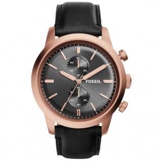 Fossil TOWNSMAN Chronograph Uhr Herrenuhr Leder schwarz rosé