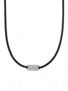 s.Oliver 2031546 Herren Collier Edelstahl Silber schwarz 50 cm