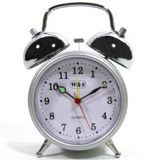 W&S 200200 Wecker Glockenwecker Uhr silber-weiß Analog Alarm