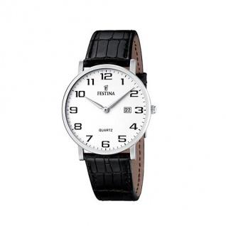 FESTINA F16476/1 KLASSIK Uhr Herrenuhr Lederarmband Datum schwarz