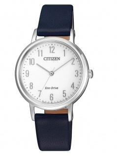 Citizen EM0571-16A Uhr Damenuhr Lederarmband Blau