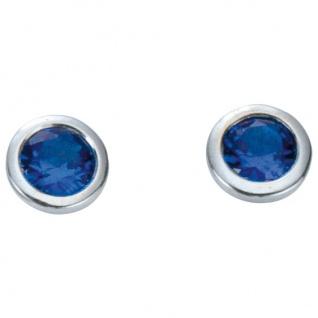 Basic Silber 01.1097B Damen Ohrstecker Silber Zirkonia blau - Vorschau 1