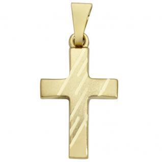 Basic Gold K18 Damen Anhänger Kreuz 14 Karat (585) Gelbgold