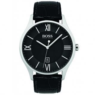 Hugo Boss 1513485 Governor Uhr Herrenuhr Lederarmband Datum Schwarz