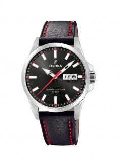 FESTINA F20358/4 Uhr Herrenuhr Lederarmband Datum Schwarz