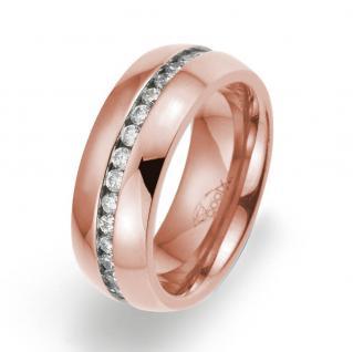 gooix 444-02129-54 Damen Ring Edelstahl Rose Weiß 54 (17.2)
