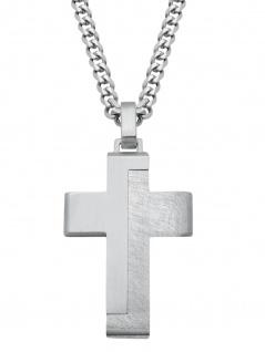 s.Oliver 2024253 Herren Collier Kreuz Edelstahl Silber 50 cm