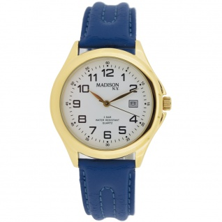 Madison MAD-004 Uhr Herrenuhr Lederarmband Datum blau
