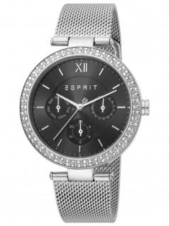 Esprit ES1L189M0075 Betty Silver Black Mesh Uhr Damenuhr Datum silber