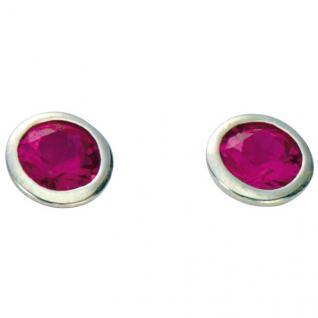 Basic Silber 01.1098R Damen Ohrstecker Silber Zirkonia pink