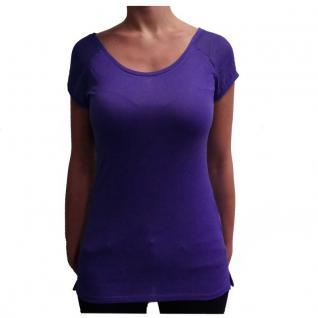 Damen T-Shirt Kurzarm Sublevel Blau Blusenshirt mit Zip Gr. M