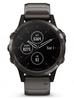 Garmin 010-01988-03 Fenix 5 Plus Uhr Herrenuhr Titan Datum Alarm Grau