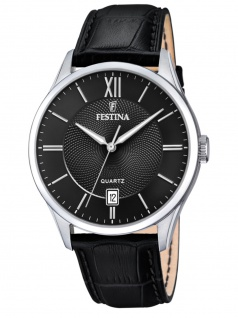FESTINA F20426/3 Uhr Herrenuhr Lederarmband Datum Schwarz