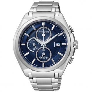 Citizen Super Titanium Chronograph Uhr Herrenuhr Titan Datum blau
