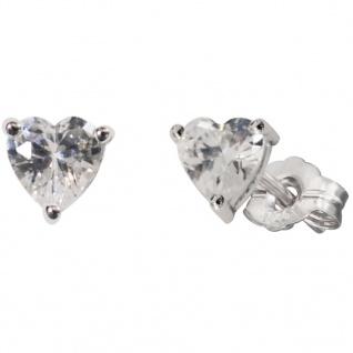 Herzengel HEE-HEART01-ZI Mädchen Ohrstecker Herz Silber Weiß - Vorschau 1
