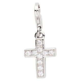 Basic Silber 22.VX425 Damen Charms Kreuz Silber Zirkonia weiß