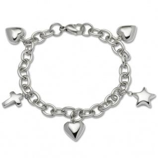 GOOIX 414-05749 Damen Armband Herz Kreuz Stern Edelstahl 19 cm