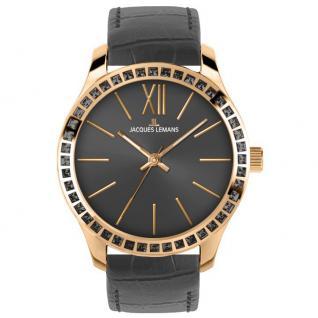 Jacques Lemans ROME Uhr Damenuhr Lederarmband grau Zirkonia