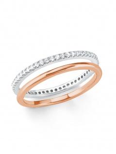 s.Oliver 2021015 Damen Ring Bicolor Rose Weiß 54 (17.2)