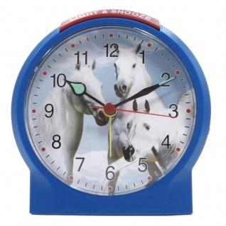 Atlanta 1189-5 Wecker Pferde Analog Alarm weiss blau rot