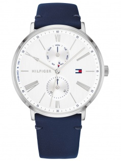 Tommy Hilfiger 1782072 JENNA Uhr Damenuhr Lederarmband Datum Blau