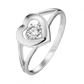 Julie Julsen® JJRG0177.1.54 Damen Ring Herz Silber Weiß 54 (17.2)