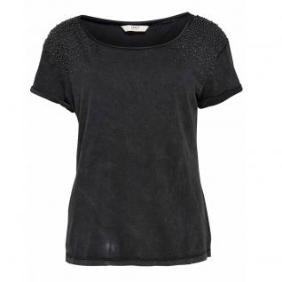 Only Damen Shirt T-Shirt Kurzarm Perlen ELIF Beads SS Top Schwarz XS