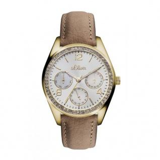 s.Oliver SO-3165-LM Uhr Damenuhr Lederarmband Datum Braun