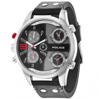 POLICE P14374JS-02 COPPERHEAD Uhr Herrenuhr Lederarmband Datum schwarz