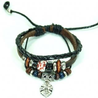 CJBB6356 Damen Armband Blatt Leder braun