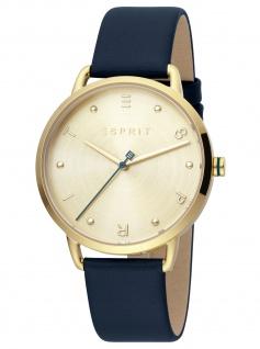 Esprit ES1L173L0035 Fun Champagne Uhr Damenuhr Lederarmband blau