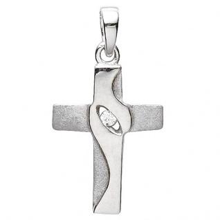 Basic Silber 27.9179S Damen Anhänger Kreuz Silber Zirkonia weiß